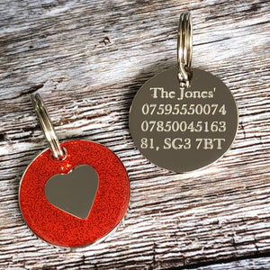 red glitter dog tag