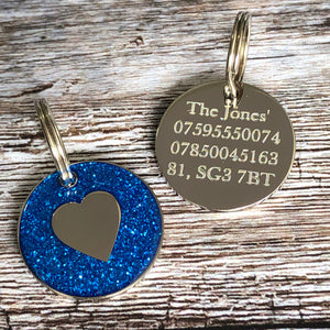 blue heart dog tag