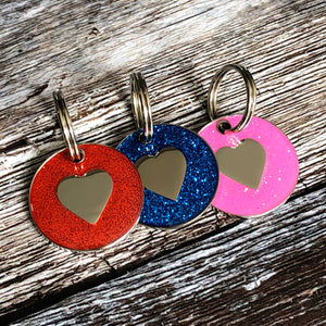 glitter heart dog tags