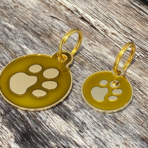 gold enamel dog tag