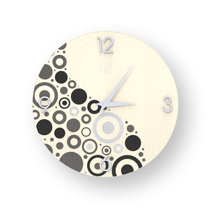 BRIO CIRCLES INLAYED WOOD CLOCK