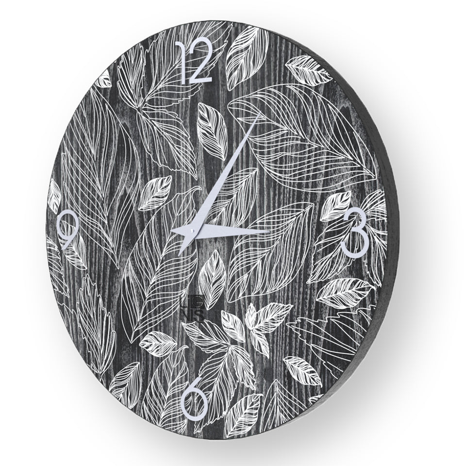 NATURE LEAVES INLAYED WOOD CLOCK