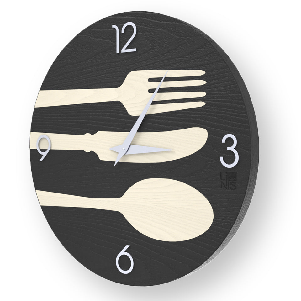 OBJECTS CUTLERY INLAYED WOOD CLOCK