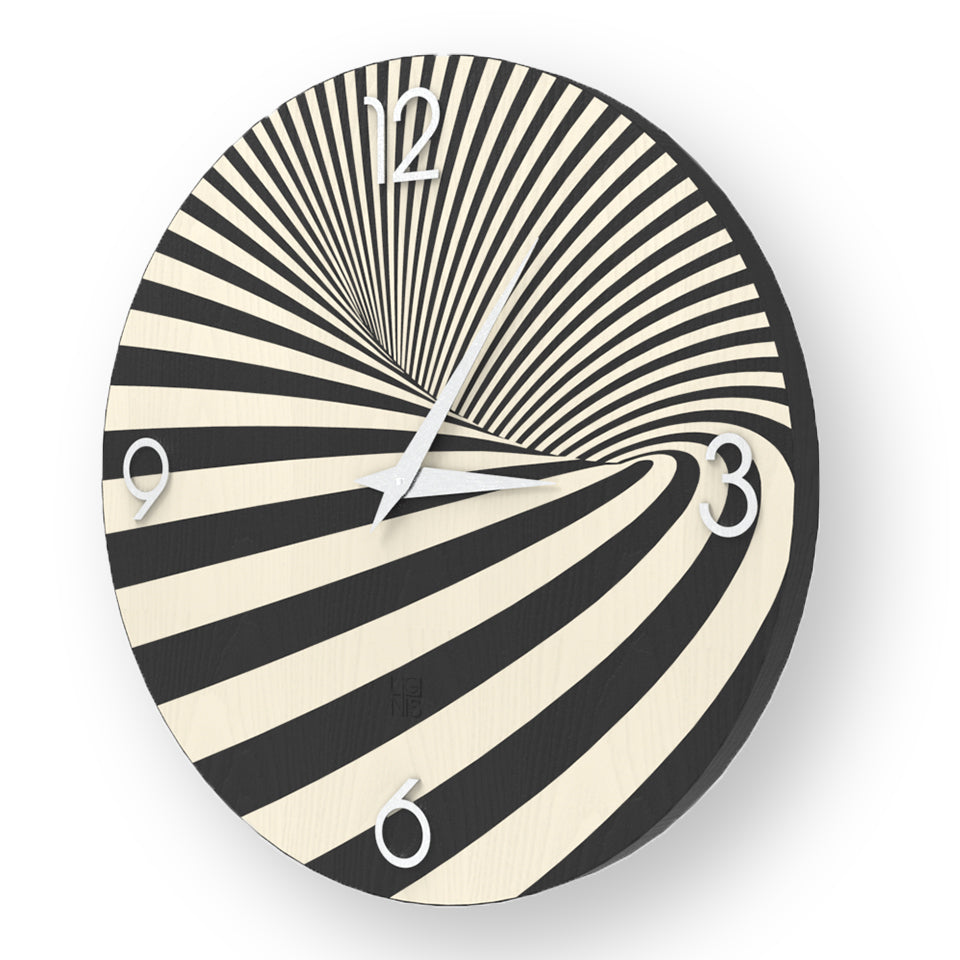 ABSTRACT OPTICAL INLAYED WOOD CLOCK