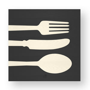 OBJECTS CUTLERY INLAYED WOOD WALL PANEL