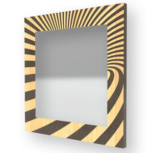 ABSTRACT OPTICAL INLAYED WOOD MIRROR