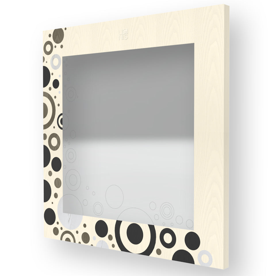 BRIO CIRCLES INLAYED WOOD MIRROR