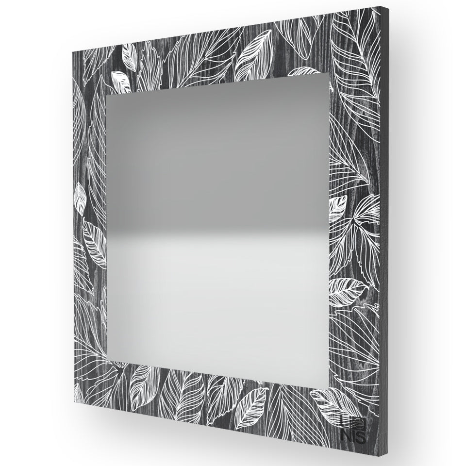 NATURE LEAVES INLAYED WOOD MIRROR