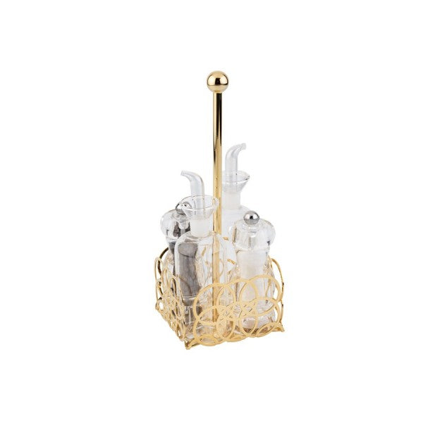 BUBBLE GOLD-PLATED CONDIMENT SET