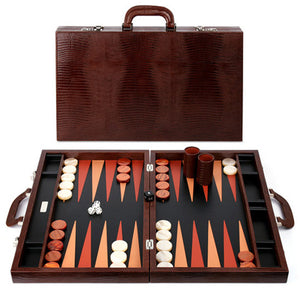 BROWN LEATHER BACKGAMMON SET BY RENZO ROMAGNOLI - Luxxdesign.com
