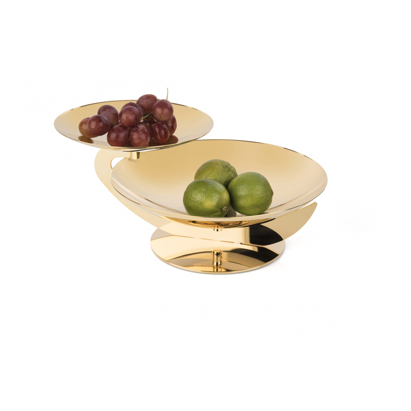 TWO-TIER GOLD-PLATED SERVING STAND