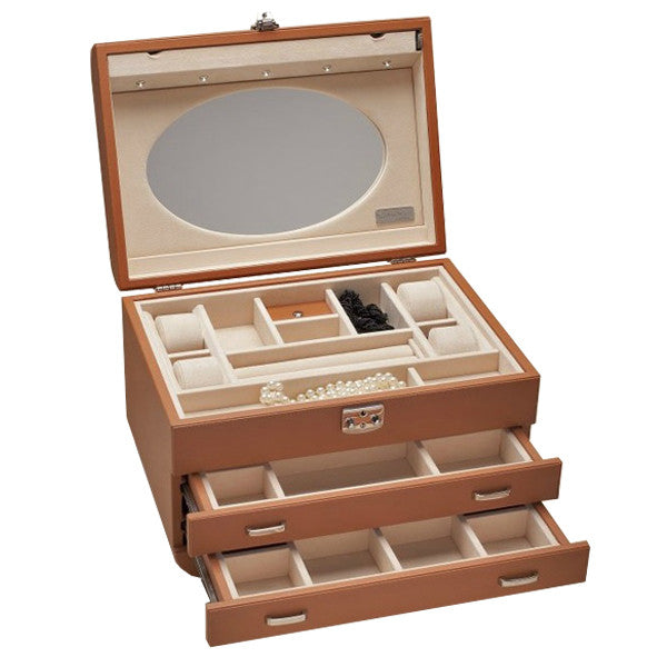 FASHION JEWELLERY CASE BROWN HERMES LEATHER BY RENZO ROMAGNOLI - Luxxdesign.com