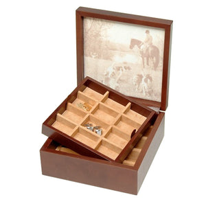 BROWN LEATHER CUFFLINKS BOX BY RENZO ROMAGNOLI - Luxxdesign.com