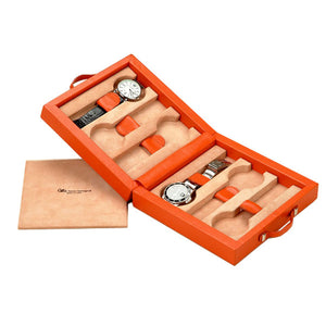 KEOPE TRAVEL WATCHES CASE ORANGE LEATHER BY RENZO ROMAGNOLI - Luxxdesign.com - 1