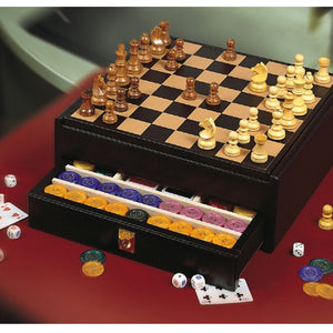 MIRAGE BLACK LEATHER CHESSBOARD BY RENZO ROMAGNOLI - Luxxdesign.com