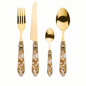 OXFORD ANTIQUE GOLD-PLATED 24 KT 24 PIECE CUTLERY SET