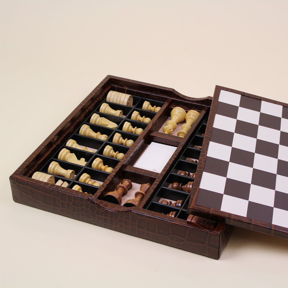 BROWN LEATHER CHESSBOARD