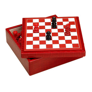 RED CROCODILE LEATHER CHESSBOARD BY RENZO ROMAGNOLI - Luxxdesign.com - 1