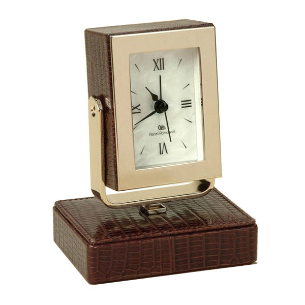 THESIUS BROWN TABLE CLOCK BY RENZO ROMAGNOLI - Luxxdesign.com