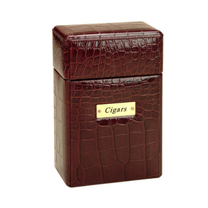 BROWN LEATHER CROCCO VERTICAL CIGAR BOX BY RENZO ROMAGNOLI - Luxxdesign.com