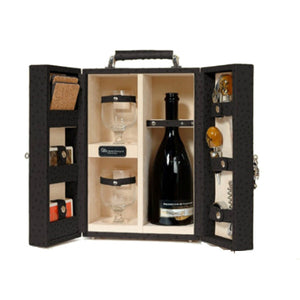 BLACK OSTRICH HEMINGWAY WINE SET BY RENZO ROMAGNOLI - Luxxdesign.com