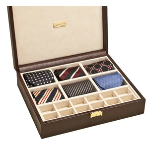 BROWN THESIUS TIE AND CUFFLINKS CASE BY RENZO ROMAGNOLI - Luxxdesign.com