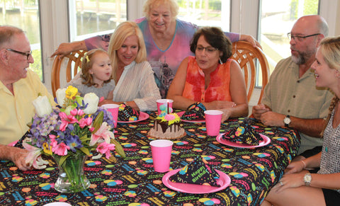 Mima's Pink Birthday Party with Happy Birthday Tablecloth by CelebrationTablecloths