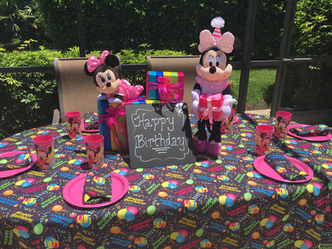 Minnie Mouse on Happy Birthday Tablecloth by CelebrationTablecloths