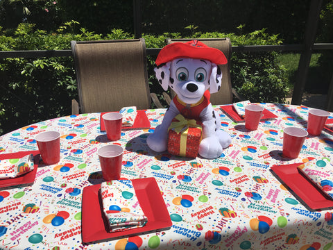 Marshall from Paw Patrol is on the case with Happy Birthday Tablecloth by CelebrationTablecloths