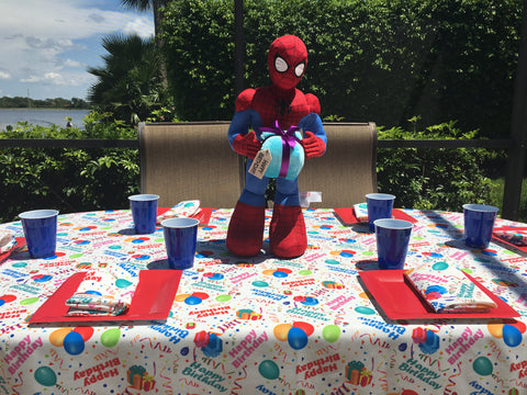 Spiderman Birthday Party with Happy Birthday Tablecloth by CelebrationTablecloths