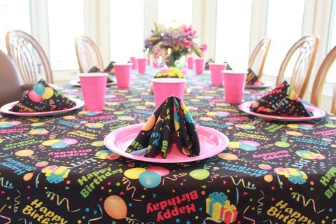 Mom's Pink Birthday with Happy Birthday Tablecloth by CelebrationTablecloths