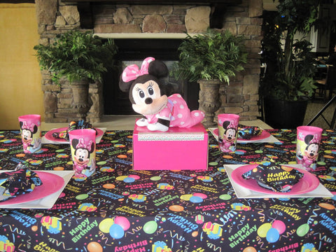 Baby Minnie Mouse 1st Birthday on Happy Birthday Tablecloth by CelebrationTablecloths