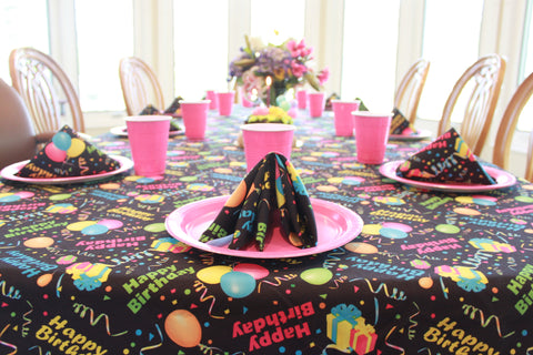 Happy Birthday Tablecloth Black Background, Bright Colors