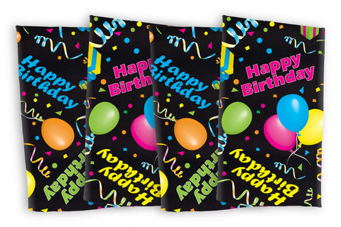 "Happy Birthday  Napkins 17""x17"" Black Background, Bright Colors (4pkg)"