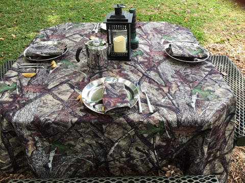 "True Timber HTC Fall Camo Camping Set (1) 50"" x 120"" Tablecloth and (10) Napkins"