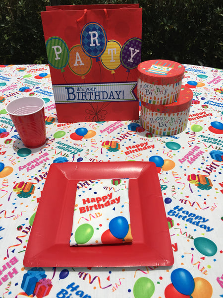 Happy Birthday Tablecloth White Background Cool Colors