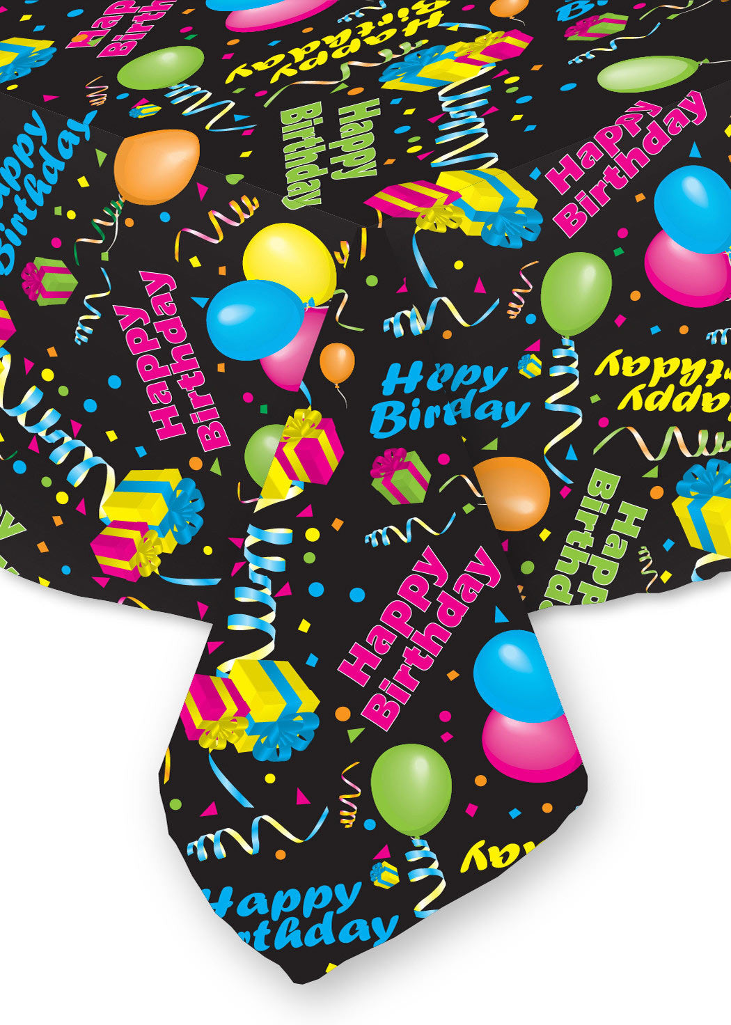 Happy Birthday Tablecloth Black Background, Bright Colors ...