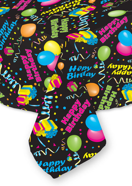 Happy Birthday Tablecloth Black Background Bright Colors