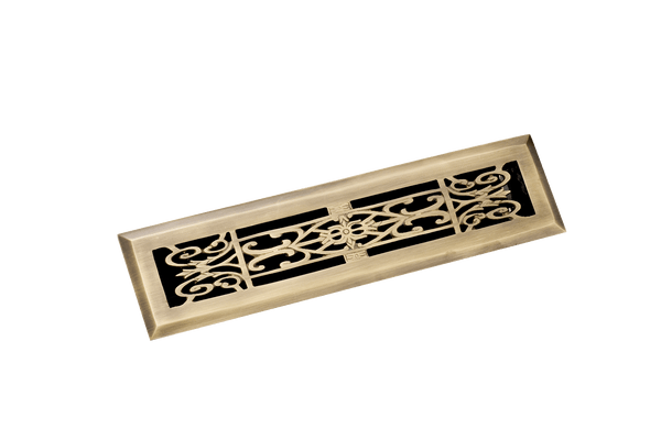 2.25 x 12 in Decorative Brass Floor Register
