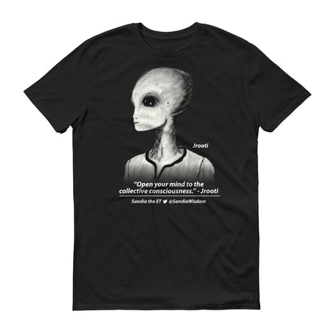 "Jrooti ""Open the Collective Consciousness."" Sandia the ET-Shirt (Mens black)"