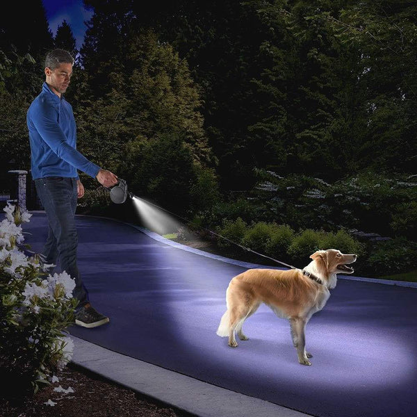 WalkWhiz Follow Me Heavy Duty Retractable Dog Lead With Built In LED Light Extends Up To 16 Feet Great For Large Dogs Up to 50 KG