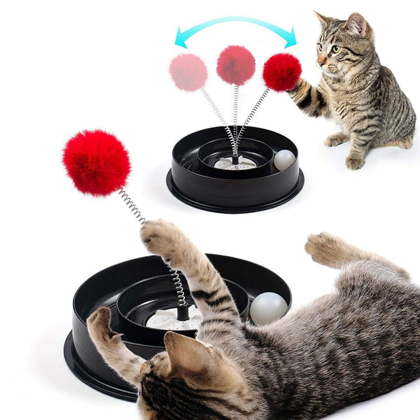 Roamwild 4 IN 1 Play Bowl Quiet Cat Toy – Cats Interactive Play Stimulating Ball Track Toy With Spring Pom-Pom