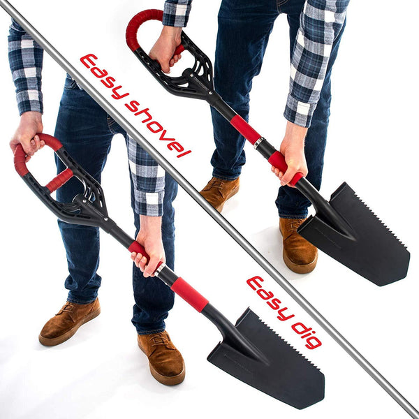 Roamwild Multi-Digger Garden Spade – Reinforced Fibreglass Light Weight Gardening Arrow Head Shovel with Unique Dual Soft AIR Light Grip Technology & Root Saw Stump Cutter.