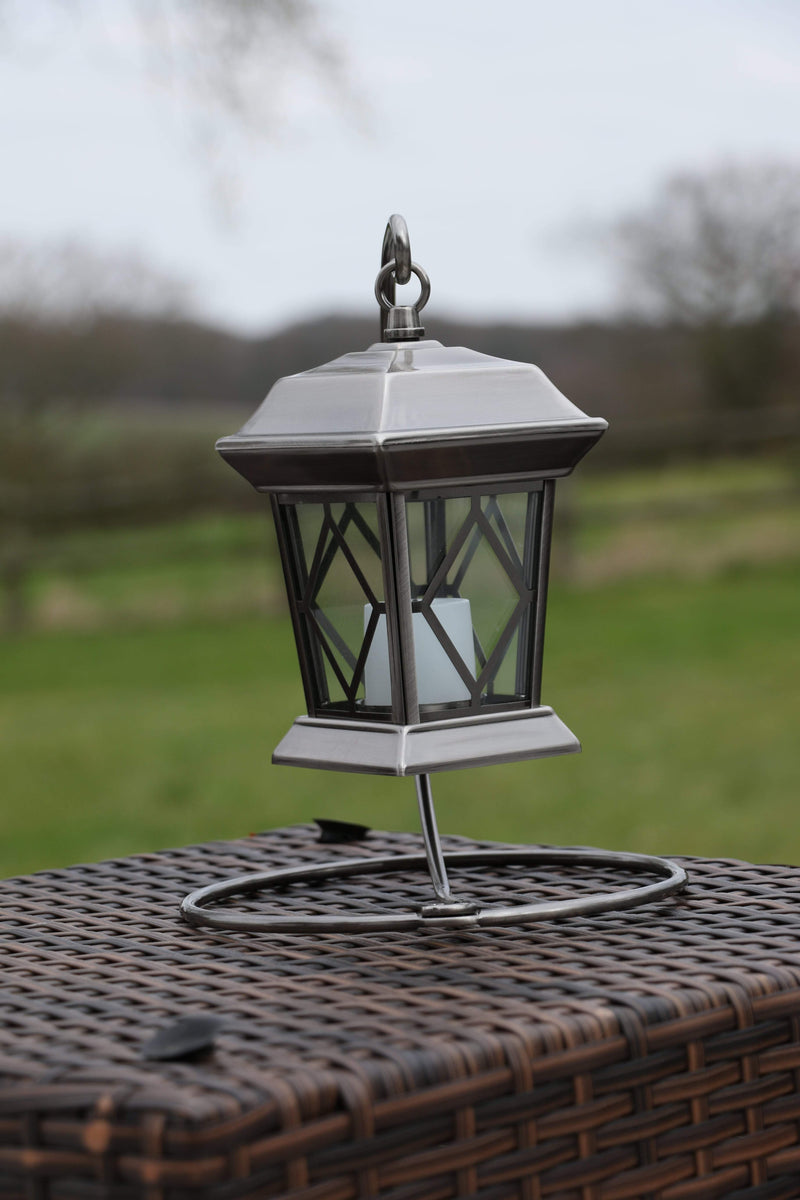 Antique Silver Ornate Battery Operated Lantern
