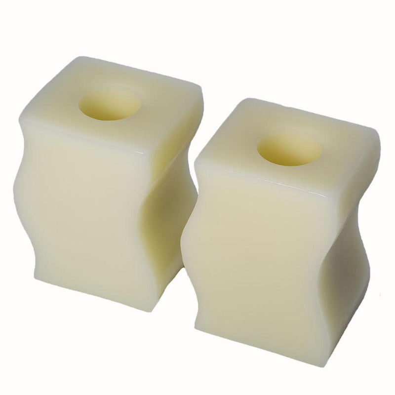 2 bookend candles on white background