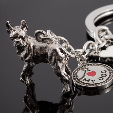 Boxer High Detailed Dog Metal Animal Keyring