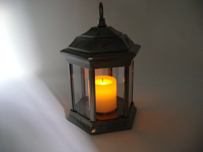 Paradise - Battery Powered Flickering Candle Lantern Pewter
