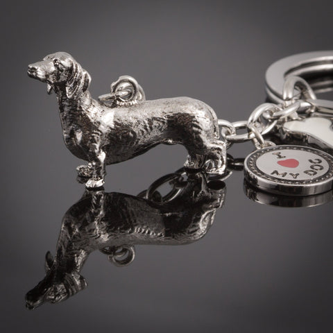 Dachshund High Detailed Dog Metal Animal Keyring