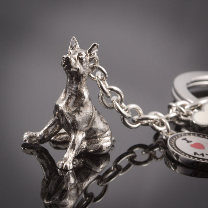 Doberman High Detailed Dog Metal Animal Keyring