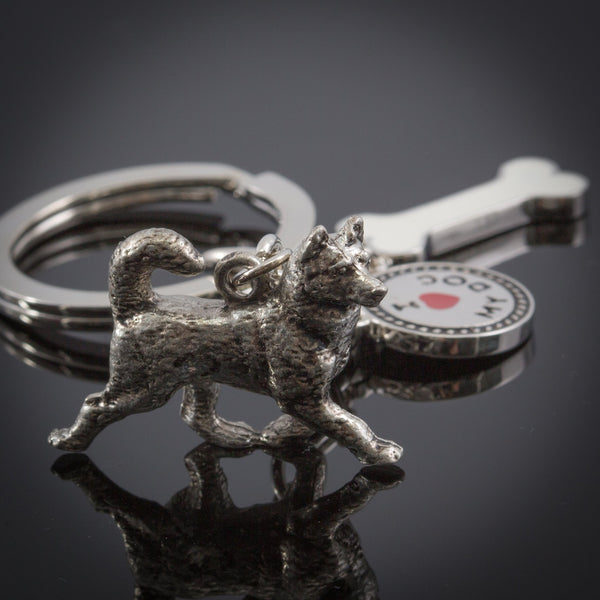Husky High Detailed Dog Metal Animal Keyring